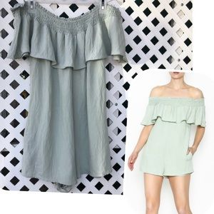 Off the shoulder romper COTTON CANDY